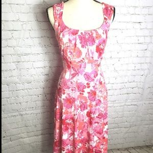 London Time Pink  Sleeveless Flower Dress Size 14